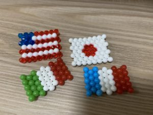 アクアビーズで国旗 | アメリカ、日本、イタリア、フランス
